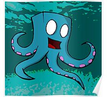 Happy Cube Headed Octopus Poster