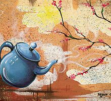 Blue Teapot with Blooming Dogwood by Bryan Collins