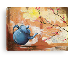Blue Teapot with Blooming Dogwood Canvas Print