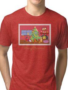 Kittens' First Christmas Tri-blend T-Shirt