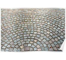 Old cobbled stones road background Poster