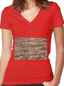 Stone stucco wall Women's Fitted V-Neck T-Shirt