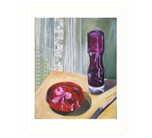 hibiscus in bowl with purple vase Art Print