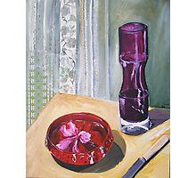 hibiscus in bowl with purple vase Photographic Print