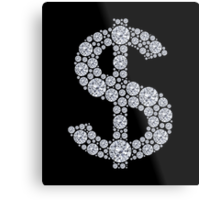Diamond Dollar Sign Bling Metal Print