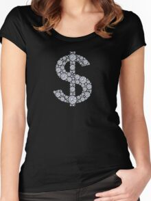 Diamond Dollar Sign Bling Women's Fitted Scoop T-Shirt