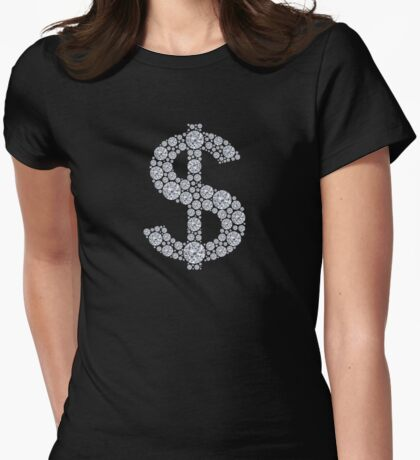 Diamond Dollar Sign Bling Womens Fitted T-Shirt