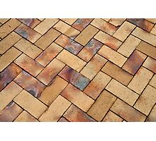 Details of geometric brown stone garden tiles Photographic Print