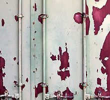 Closeup of cargo shipping containers by Ron Zmiri