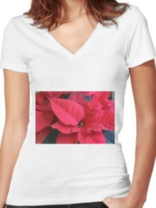 poinsettia flower Women's Fitted V-Neck T-Shirt