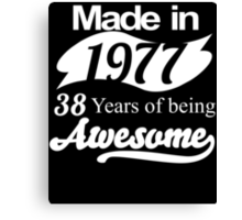 Made in 1977... 38 Years of being Awesome Canvas Print