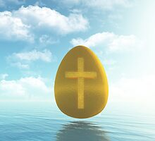 Easter golden Egg with Cross by enlife
