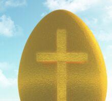 Easter golden Egg with Cross Sticker