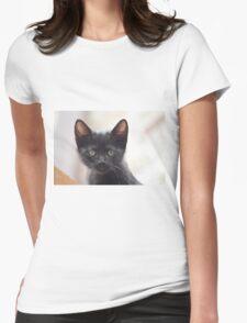 black kitten portrait Womens Fitted T-Shirt