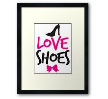 LOVE SHOES with funky fashion black shoes and a bow Framed Print