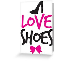LOVE SHOES with funky fashion black shoes and a bow Greeting Card