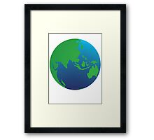 World globe with Australia India Asia and the Middle East Framed Print