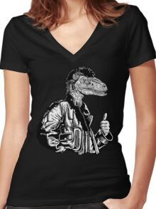 Greaseraptor Women's Fitted V-Neck T-Shirt