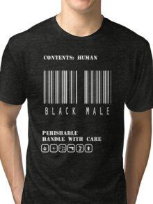 Black Male Barcode Tri-blend T-Shirt