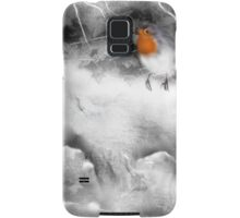 Traditional Christmas Illustration: Robins on a Snow-covered Wall Samsung Galaxy Case/Skin