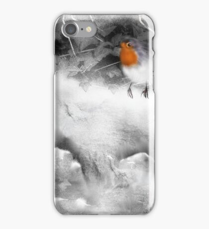 Traditional Christmas Illustration: Robins on a Snow-covered Wall iPhone Case/Skin