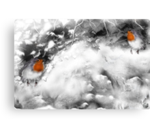Traditional Christmas Illustration: Robins on a Snow-covered Wall Canvas Print
