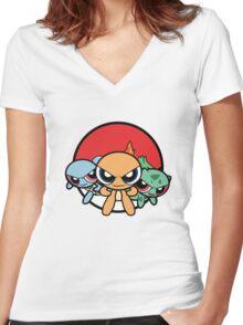 Powerpuff Pokemon Women's Fitted V-Neck T-Shirt