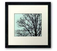 Fall Tree Silhouette Vector Green Framed Print