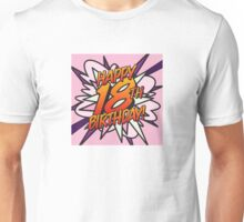 Comic Book HAPPY 18TH BIRTHDAY! pink Unisex T-Shirt