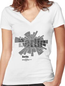 Berlin Map Women's Fitted V-Neck T-Shirt