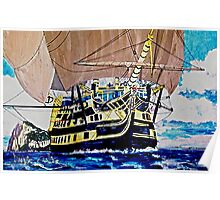 HMS Victory en route to the Battle of Trafalgar 1805 Poster