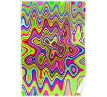 Psychedelic Glowing Colors Pattern Poster