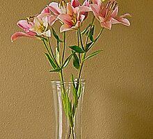 Pink Stargazer Lilies in Vase by ValeriesGallery