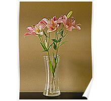 Pink Stargazer Lilies in Vase Poster