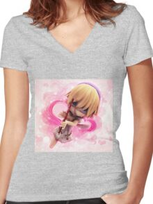 Cupid girl on pink background Women's Fitted V-Neck T-Shirt