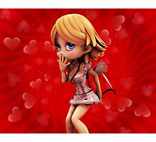 Cupid girl on red background 4 Photographic Print