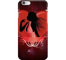 Female silhouette with a heart iPhone Case/Skin