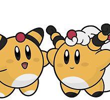 Kirby / Ampharos - Mega Ampharos by elenwae