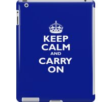 KEEP CALM, Keep Calm & Carry On, Be British! White on Royal Blue iPad Case/Skin