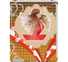 Girl in red dress on vintage background iPad Case/Skin