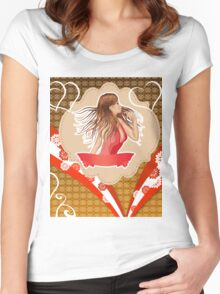 Girl in red dress on vintage background Women's Fitted Scoop T-Shirt