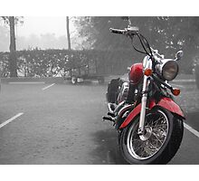 Motorbike in the rain Photographic Print