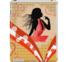 Girl in red dress on vintage background 2 iPad Case/Skin