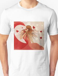Girl in red dress with hearts Unisex T-Shirt