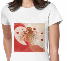 Girl in red dress with hearts Womens Fitted T-Shirt