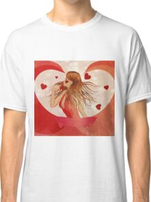 Girl in red dress with hearts 2 Classic T-Shirt