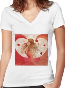 Girl in red dress with hearts 2 Women's Fitted V-Neck T-Shirt