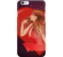 Girl with ribbon and big heart iPhone Case/Skin