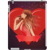 Girl with ribbon and big heart iPad Case/Skin