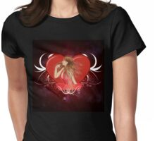 Girl with ribbon and big heart 2 Womens Fitted T-Shirt